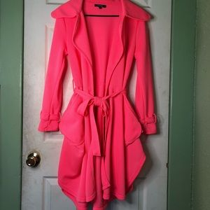 Neon Pink Mesh Trench Coat Large